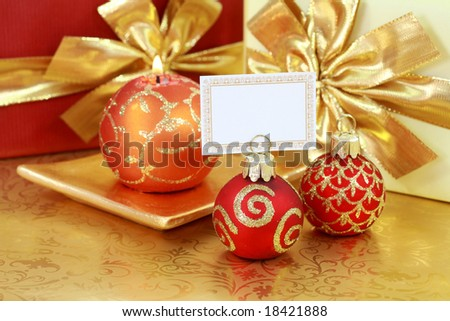 Christmas still life with label for your text - stock photo