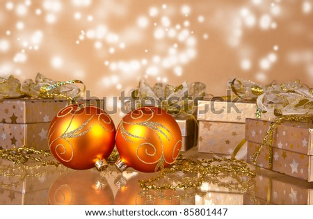 Christmas still life with sparkle background - stock photo