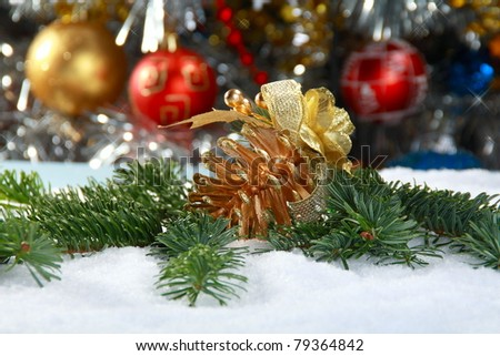 Christmas Still Life with spruce and toys on the background of garlands. - stock photo