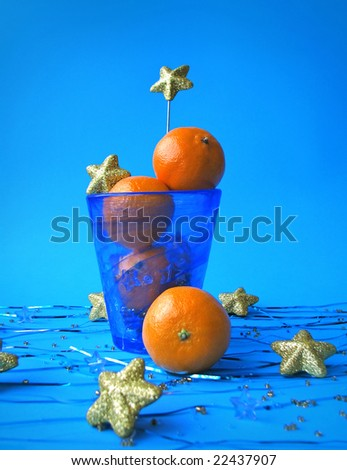 Christmas still life with tangerines - stock photo