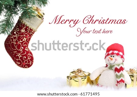 Christmas stocking and snowman with gifts on white background. - stock photo