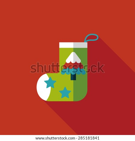 Christmas stocking flat icon with long shadow - stock photo