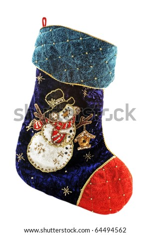 Christmas Stocking Isolated (with clipping patch) - stock photo