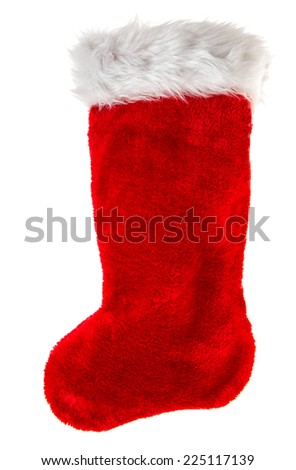 christmas stocking. red sock for Santa's gifts isolated on white background. winter holidays symbol - stock photo