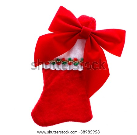 Christmas stocking with bow - stock photo