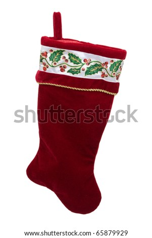 Christmas stocking with presents inside isolated on a white background, Christmas time - stock photo