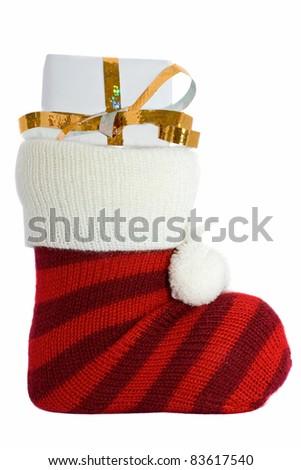 christmas stockings isolated on white background - stock photo