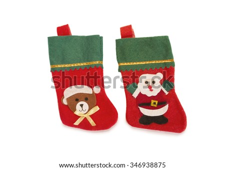 Christmas stockings on a white background isolation.