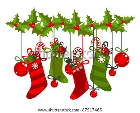 Christmas stockings (raster version) - stock photo