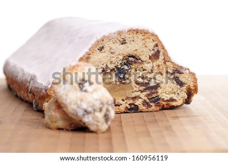 Christmas stollen with Christmas cookies / christmas time - stock photo