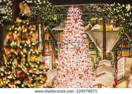 Christmas store with decorations - stock photo
