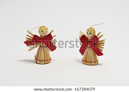Christmas straw angels - stock photo