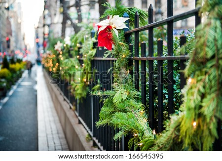 christmas street decor in New York - stock photo