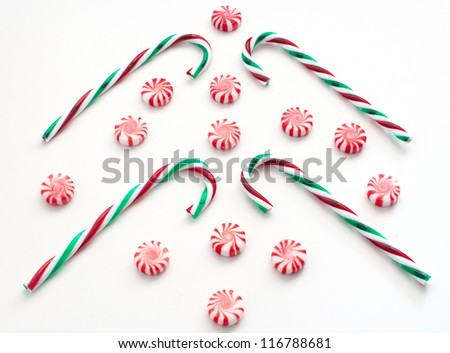 Christmas striped candies and canes horizontal