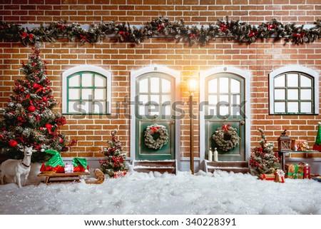 Christmas Studio Interior Decorations With Two Wooden Doors Street Light Tree Presents