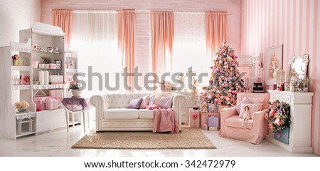 Christmas studio room interior made in pink tones.  - stock photo