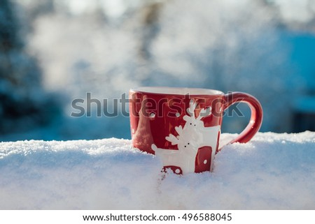 Christmas style mug in the snow