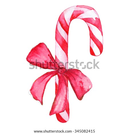 Christmas sweet peppermint cinnamon candy cane lollipop bow pink white isolated - stock photo