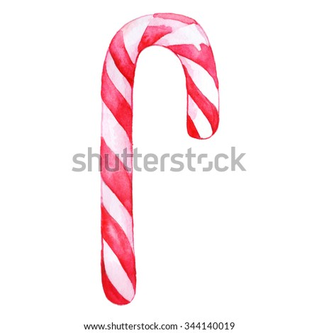 Christmas sweet peppermint cinnamon candy cane lollipop pink white isolated - stock photo