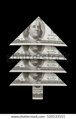 Christmas symbol and metaphor (dollars fur-tree). Black background