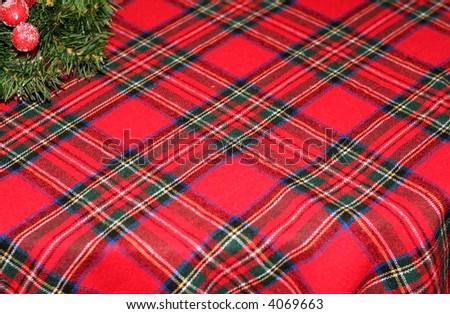 Christmas tabelcloth - stock photo