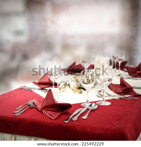 christmas table and red color  - stock photo
