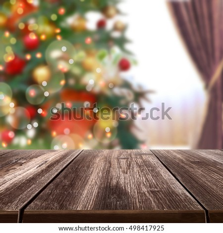 christmas table background.Closeup of Christmas-tree background with  bokeh . New Year card. christmas manipulation, photo montage, collage