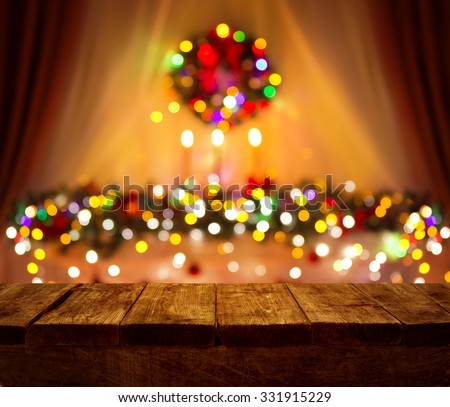 Christmas Table Blurred Lights Background, Wood Desk in Focus, Xmas Wooden Plank, Blur Home Room - stock photo