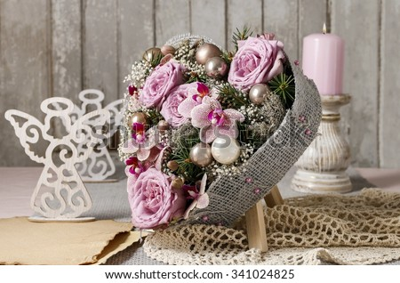 Christmas table decoration in heart shape - stock photo