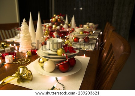 christmas table , new year table setting - stock photo