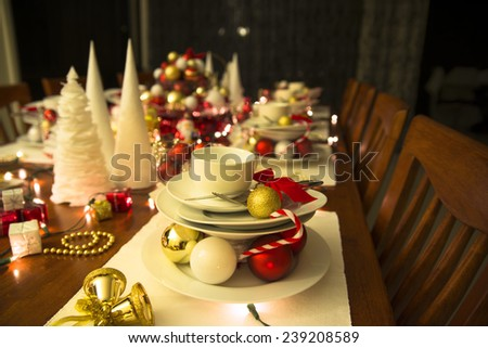 christmas table, new year table setting - stock photo