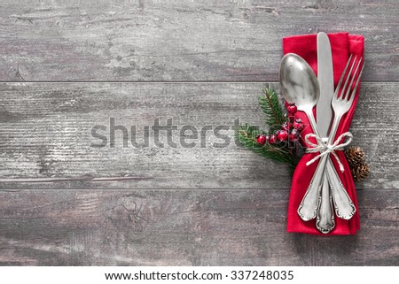 Christmas table place setting. Holidays background - stock photo