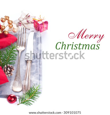 Christmas table place setting with christmas decorations. Christmas menu concept with copy space for text. - stock photo
