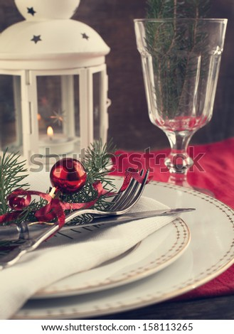 Christmas table setting, toned. Selective focus.  - stock photo