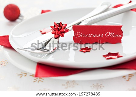 christmas table setting with tag and text  - stock photo