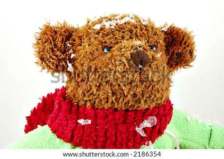 Christmas teddy bear isolated on a white background - stock photo