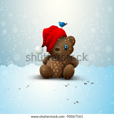 Christmas Teddy Bear Sitting Alone in the Snow - stock photo
