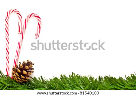 Christmas template with candy canes, pine cone and green border.  This could be used as a menu or greeting card. - stock photo