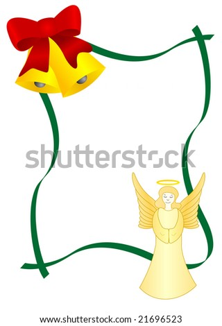 Christmas text-box with bells and angel