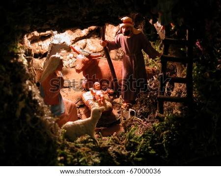 Christmas: the Holy Family in the stable in Bethlehem. Birth of Jesus Christ, the Messiah. - stock photo