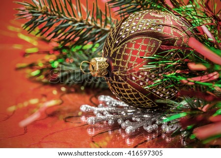 Christmas theme on a white background - stock photo