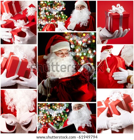 Christmas theme: Santa Claus and presents - stock photo
