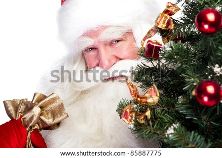 Christmas theme: Santa Claus holding christmas tree and his bag full of gifts over white background - stock photo
