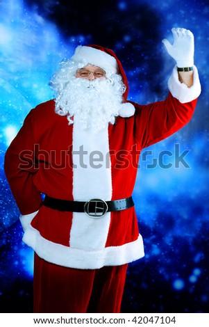 Christmas theme: Santa Claus, snowy design. - stock photo