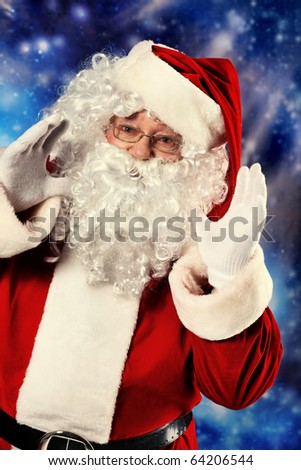 Christmas theme: Santa Claus, snowy design. - stock photo