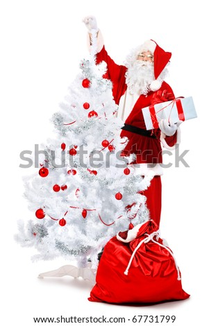 Christmas theme: Santa Claus with presents and christmas tree. Isolated over white background. - stock photo