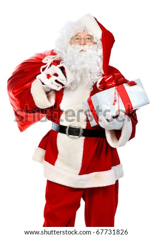 Christmas theme: Santa Claus with presents. Isolated over white background. - stock photo
