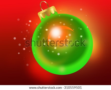 Christmas theme with gold orange glass balls and free space for text