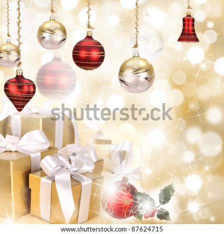 Christmas theme with golden blurred background
