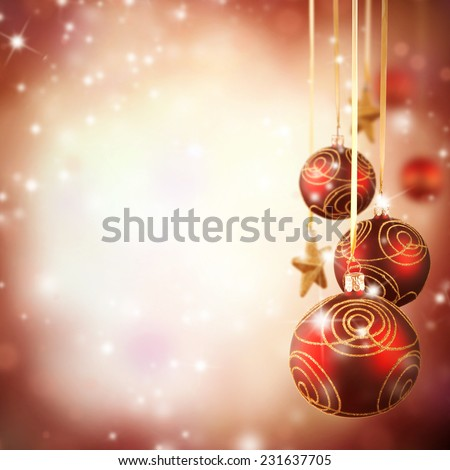 Christmas theme with red glass balls and free space for text - stock photo